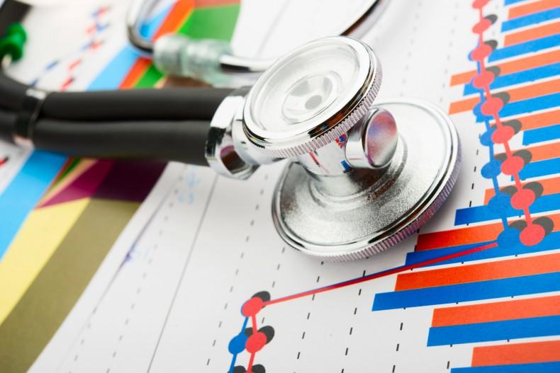 Stethoscope and statistics graphic